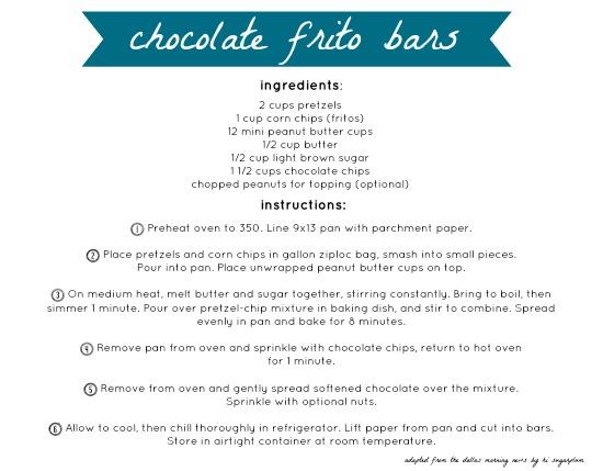 chocolate frito bars recipe card