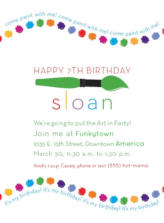 Hi Sugarplum   Art Party Invitations