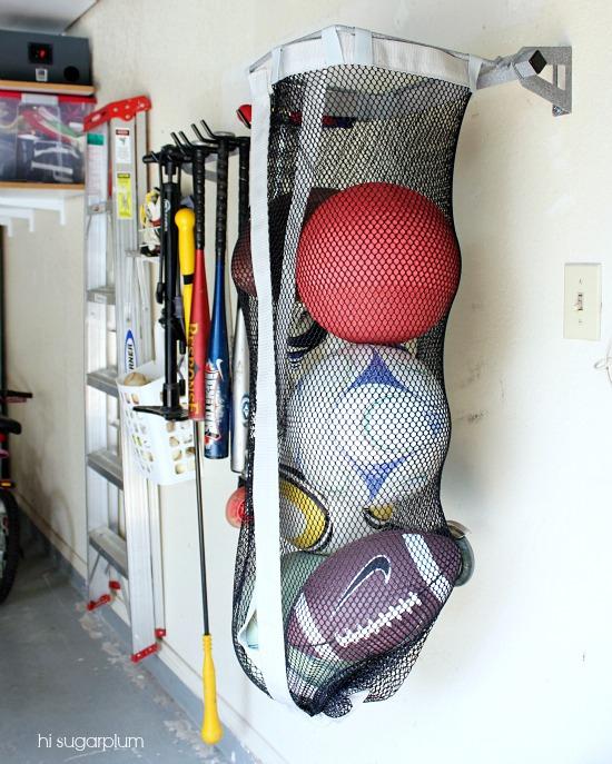 Garage Sports Organizer: {Organized} Garage (the Sports Gear & Yard Tools)