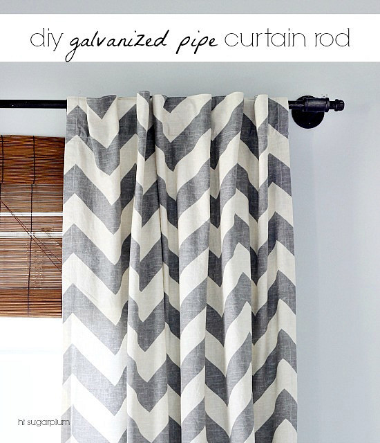 Curtains Ideas 110 inch curtain rod : DIY} Another Galvanized Pipe Curtain Rod | Hi Sugarplum!
