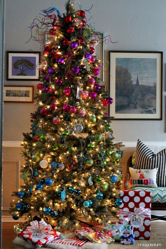 Color blocked tree diy urchin ornament hi sugarplum for Colorful christmas tree decorations