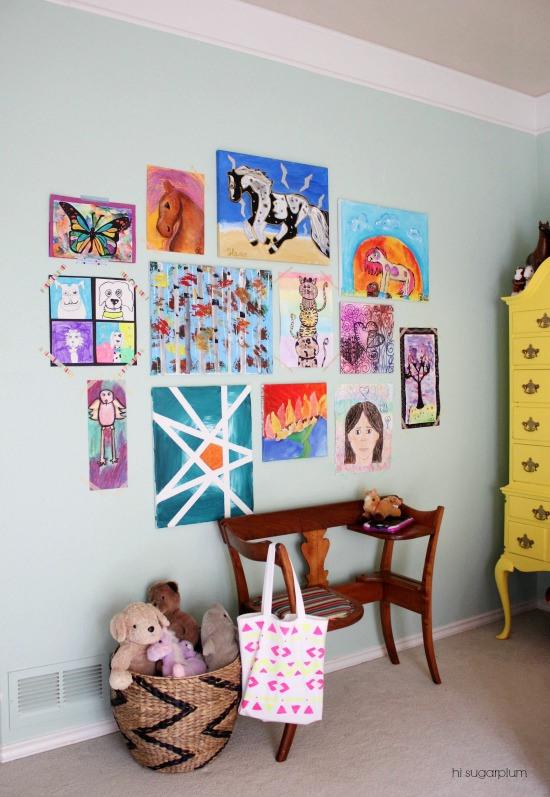 Hi Sugarplum | Gallery Wall of Kid's Art