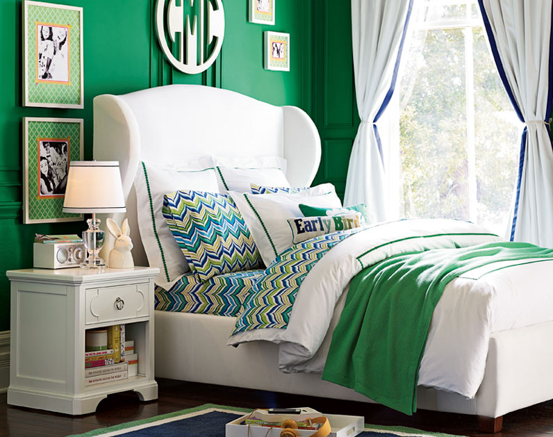 exciting teen girl bedroom green | Surprise Source: PB Teen! | Hi Sugarplum!