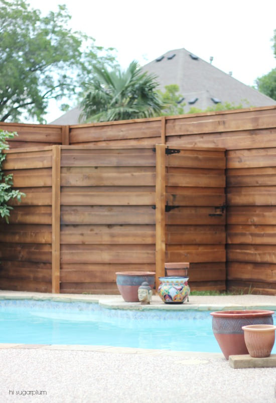 The backyard a new horizontal fence hi sugarplum for Pool equipment design