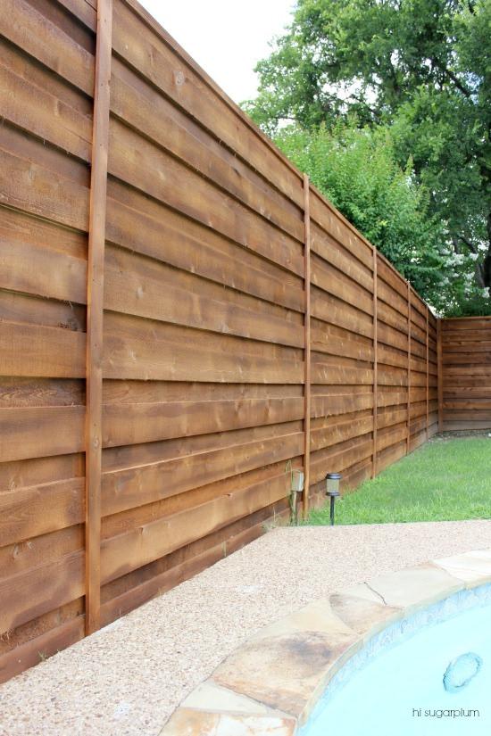 The backyard a new horizontal fence hi sugarplum for Outside fence designs