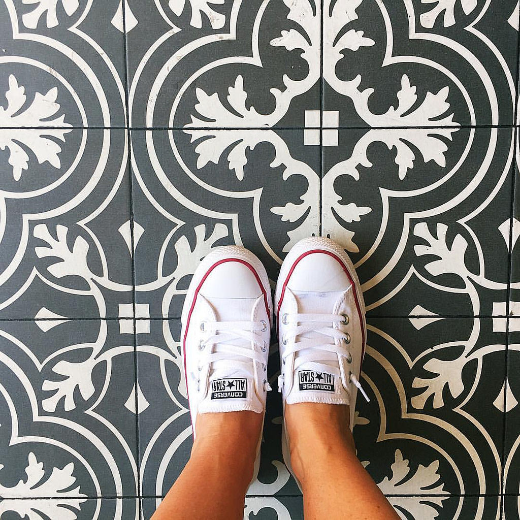 When the gelato shop floors in Barcelona  match your kitchen backsplash. 😍 #sugarplumtravels #comebacknew