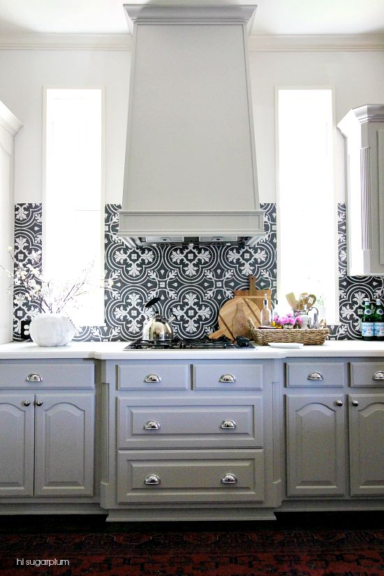 Let 39 s chat to tile or not to tile hi sugarplum for Ceramic tile under kitchen cabinets