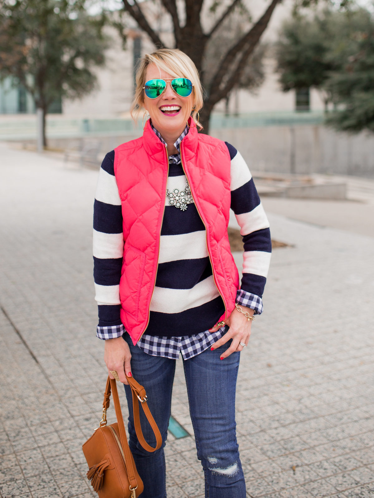 Winter Brights | Stripes & Puffer Vest