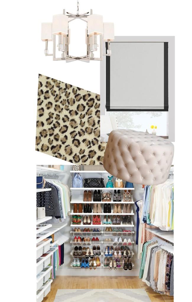 Chandelier   Roman Shade   Cheetah Carpet   Pouf   Elfa Decor Closet System