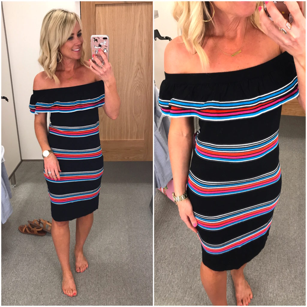 vince camuto off the the shoulder striped dress
