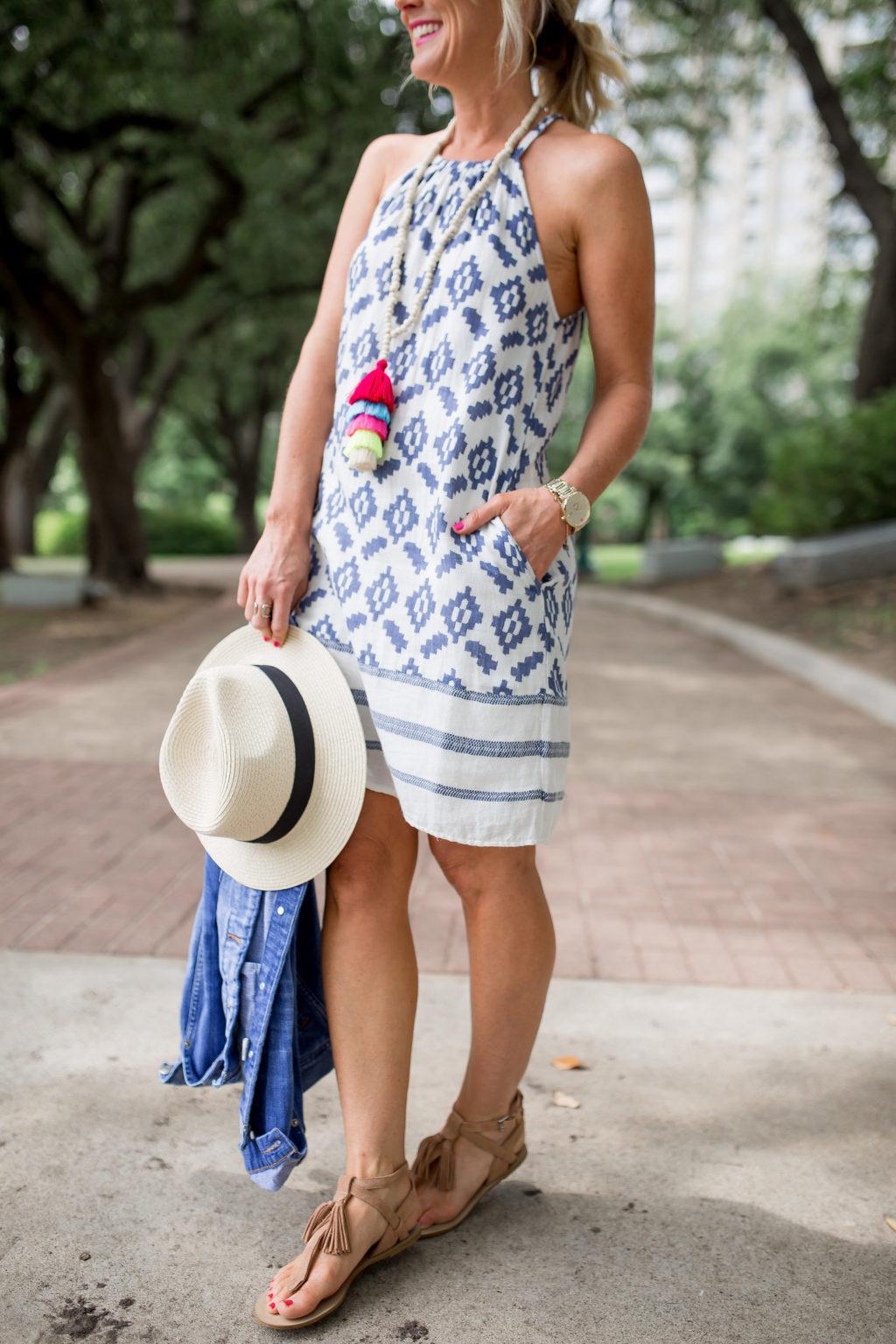 blue white sundress tassel necklace