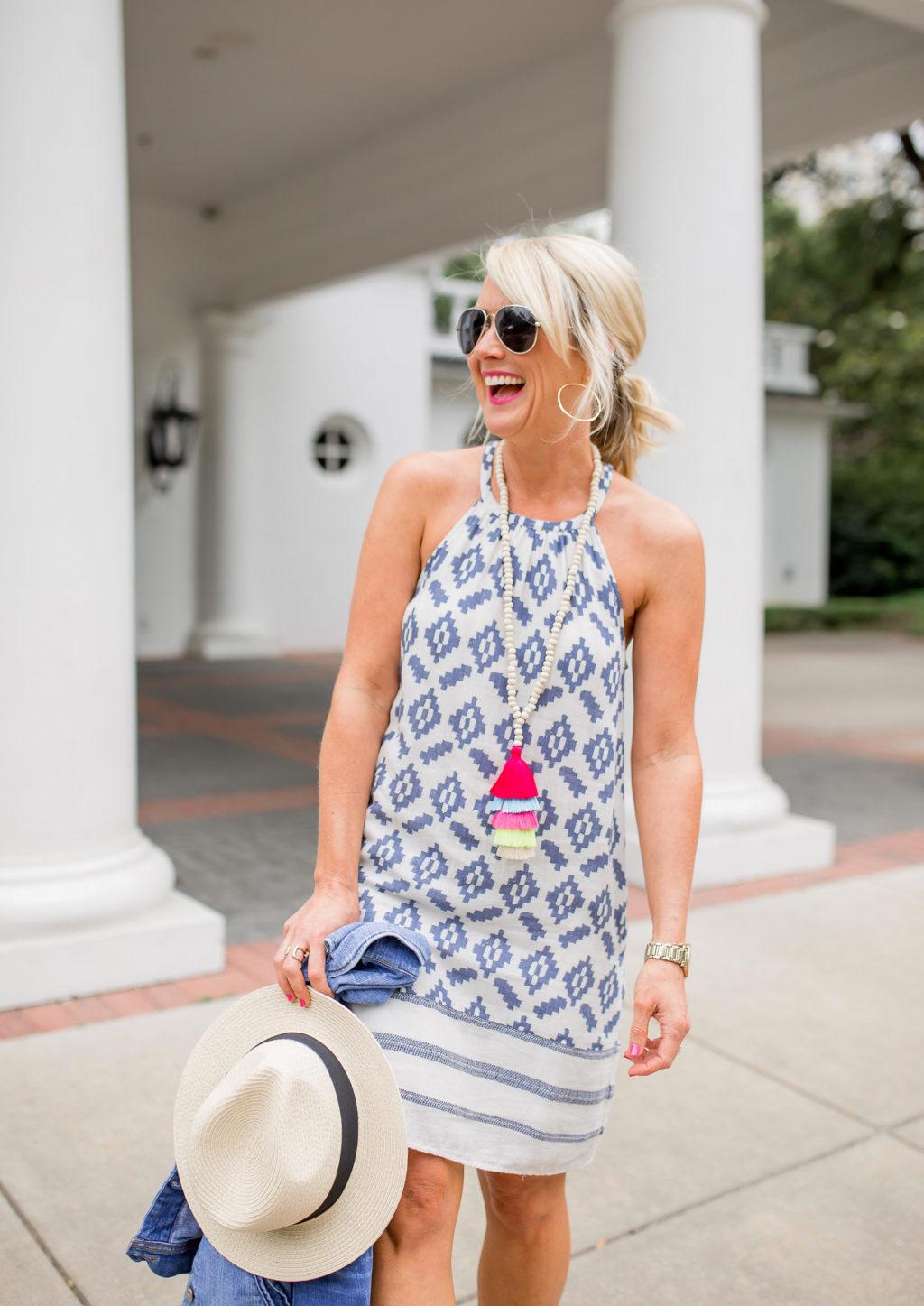 lucky brand halter style sundress tassel necklace