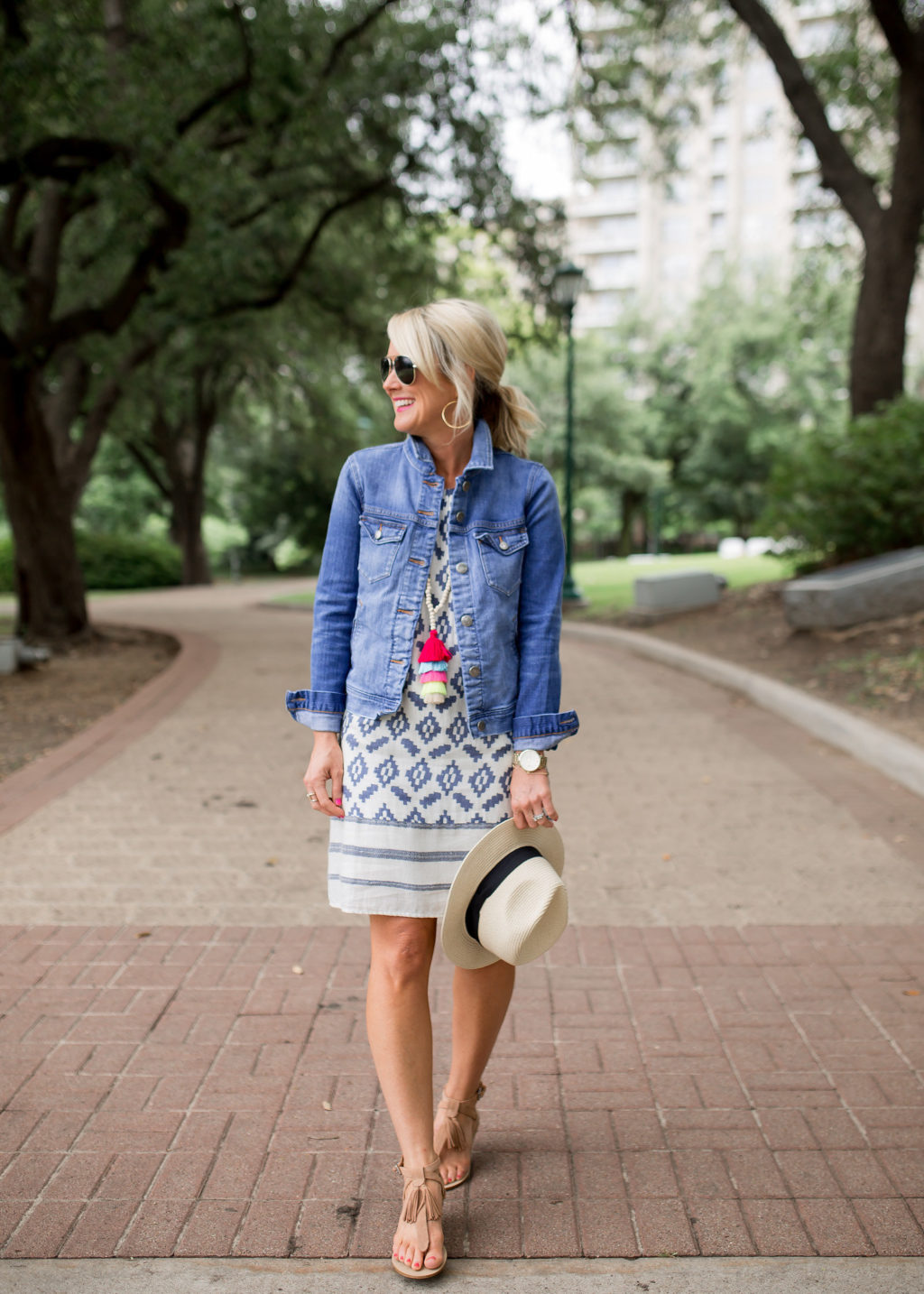 jean jacket in summer with sundress