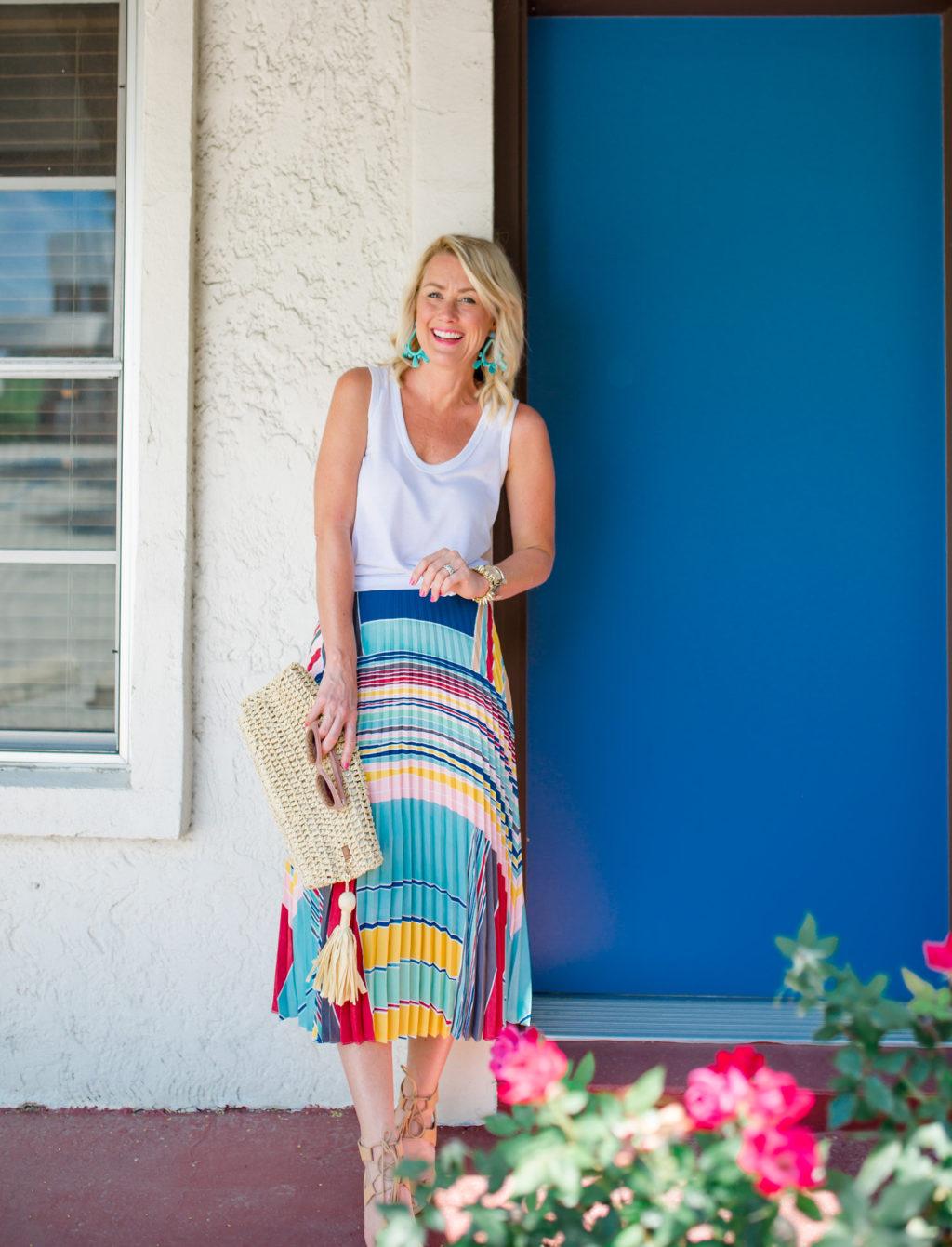 loft colorful pleated skirt-24