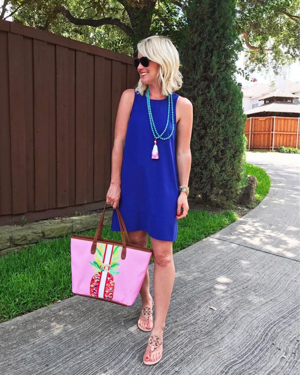 blue racerback shift dress pineapple bag