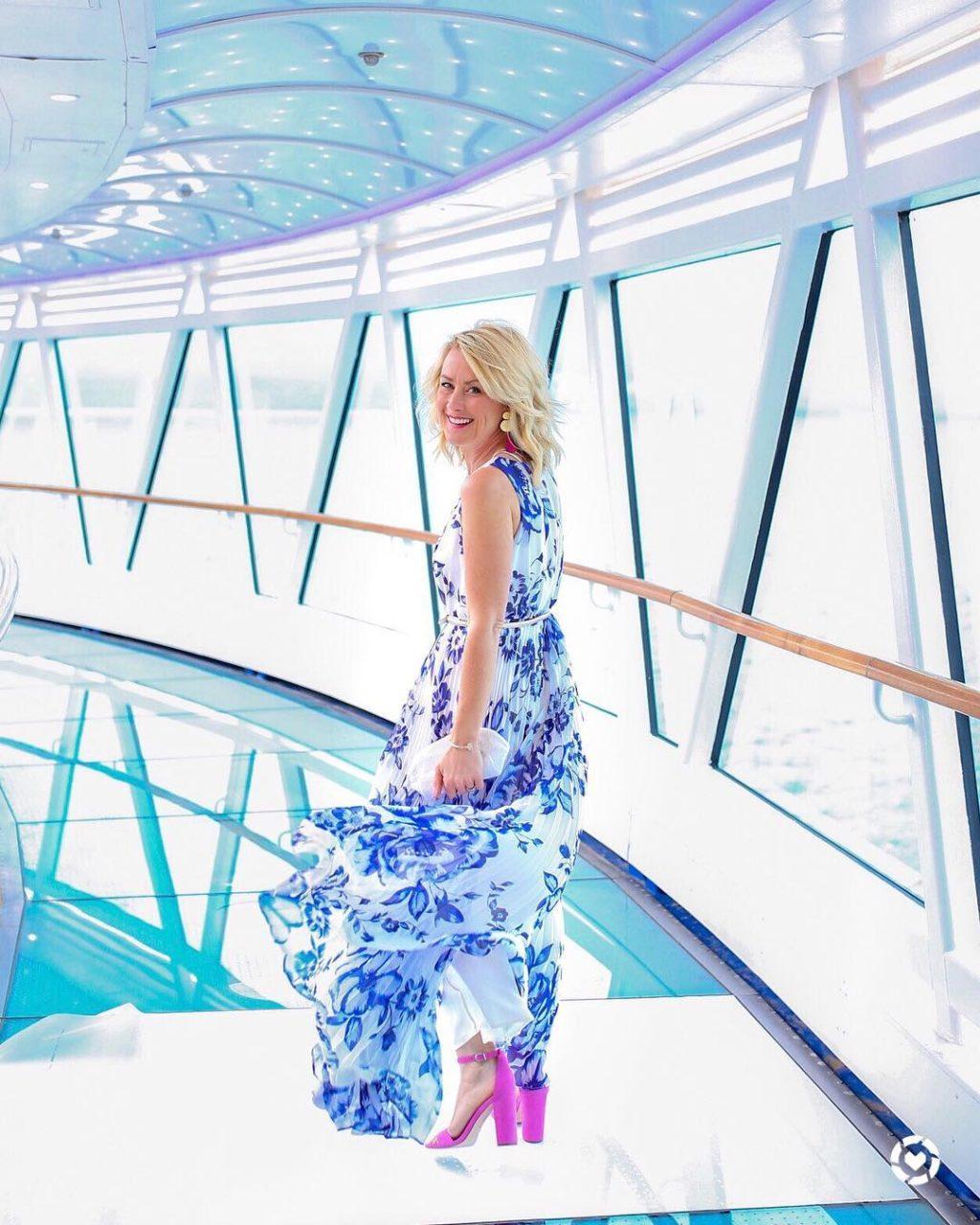 eliza j blue chiffon maxi dress formal night cruise