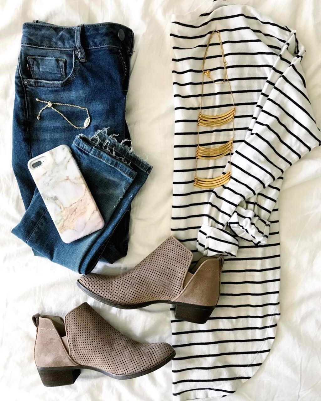 striped shirt jeans booties fall outfit