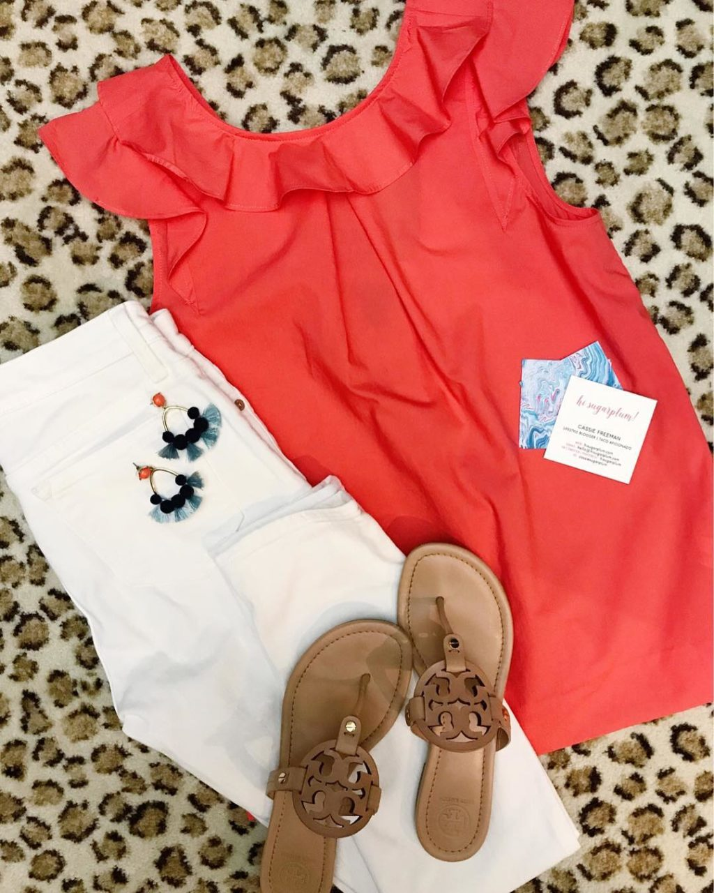 jcrew ruffle top summer outfit