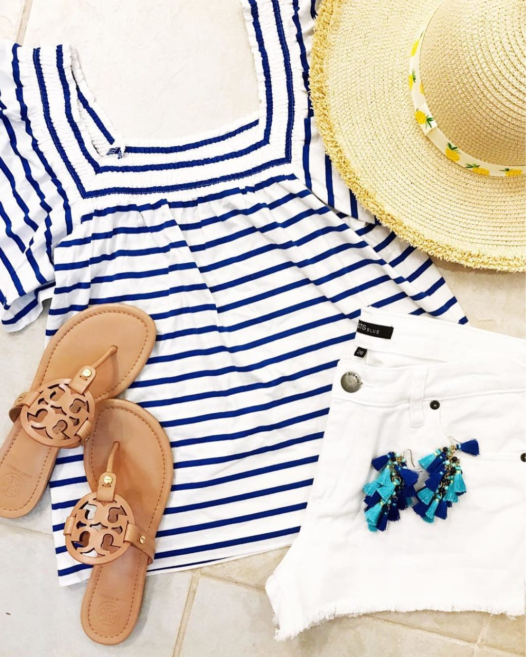 jcrew striped ruffle top pineapple straw hat