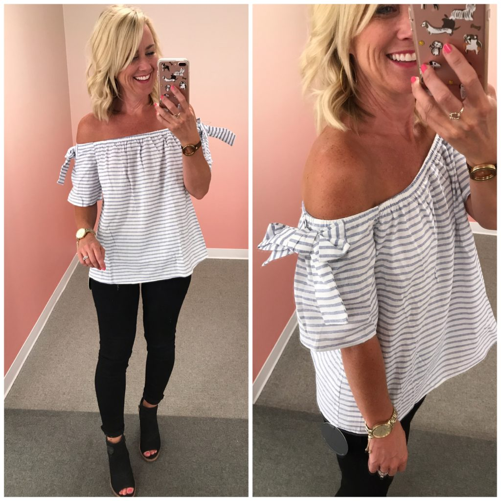 nordstrom anniversary sale off the shoulder striped top