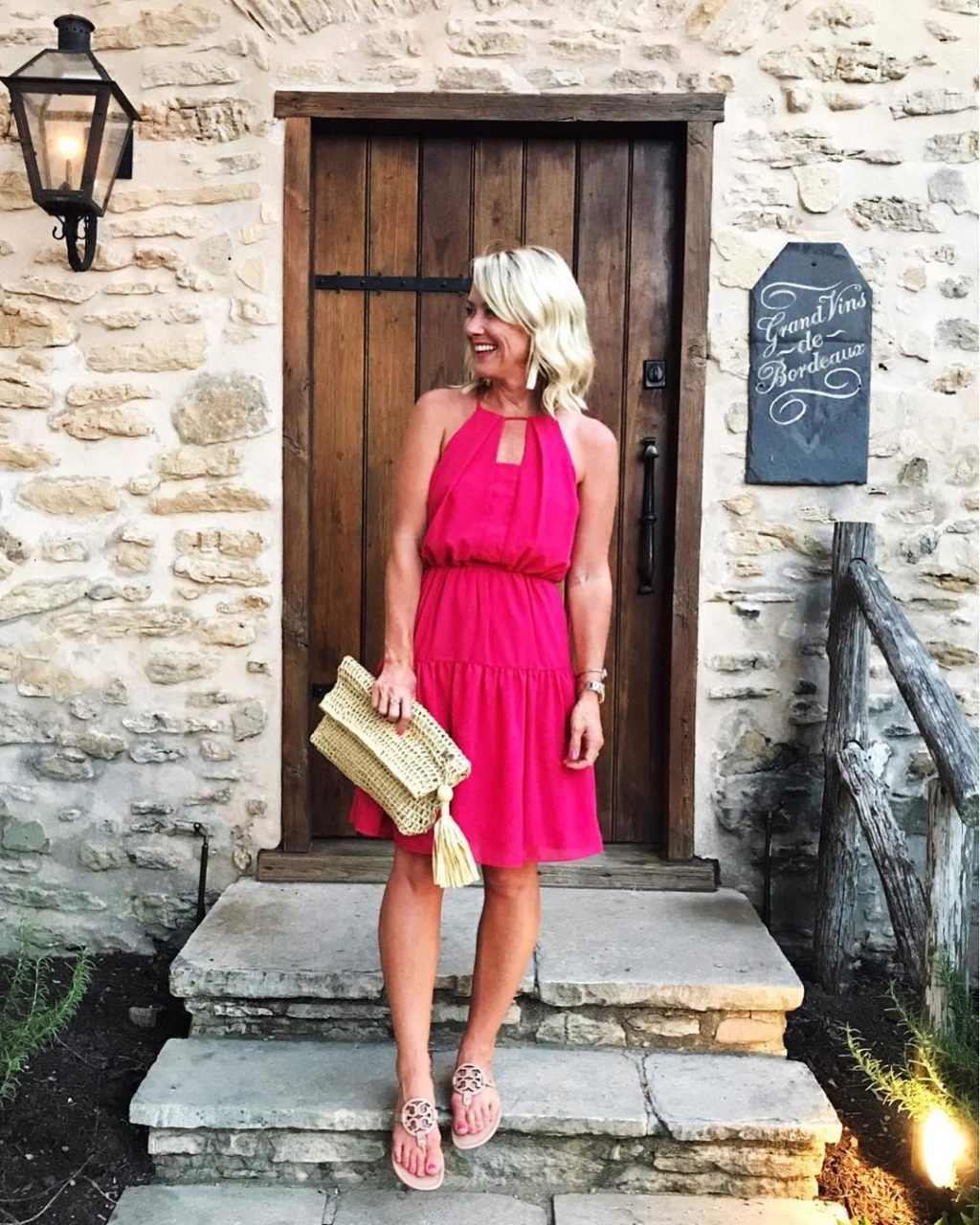 nordstrom pink tiered fit and flare dress
