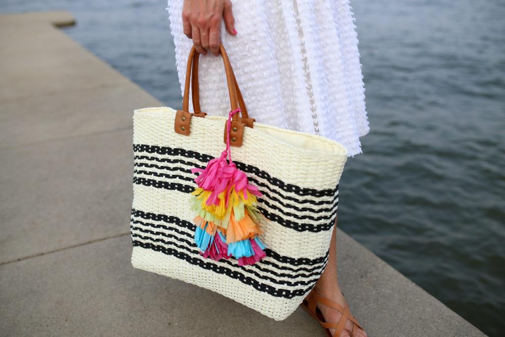 striped beach bag tassel