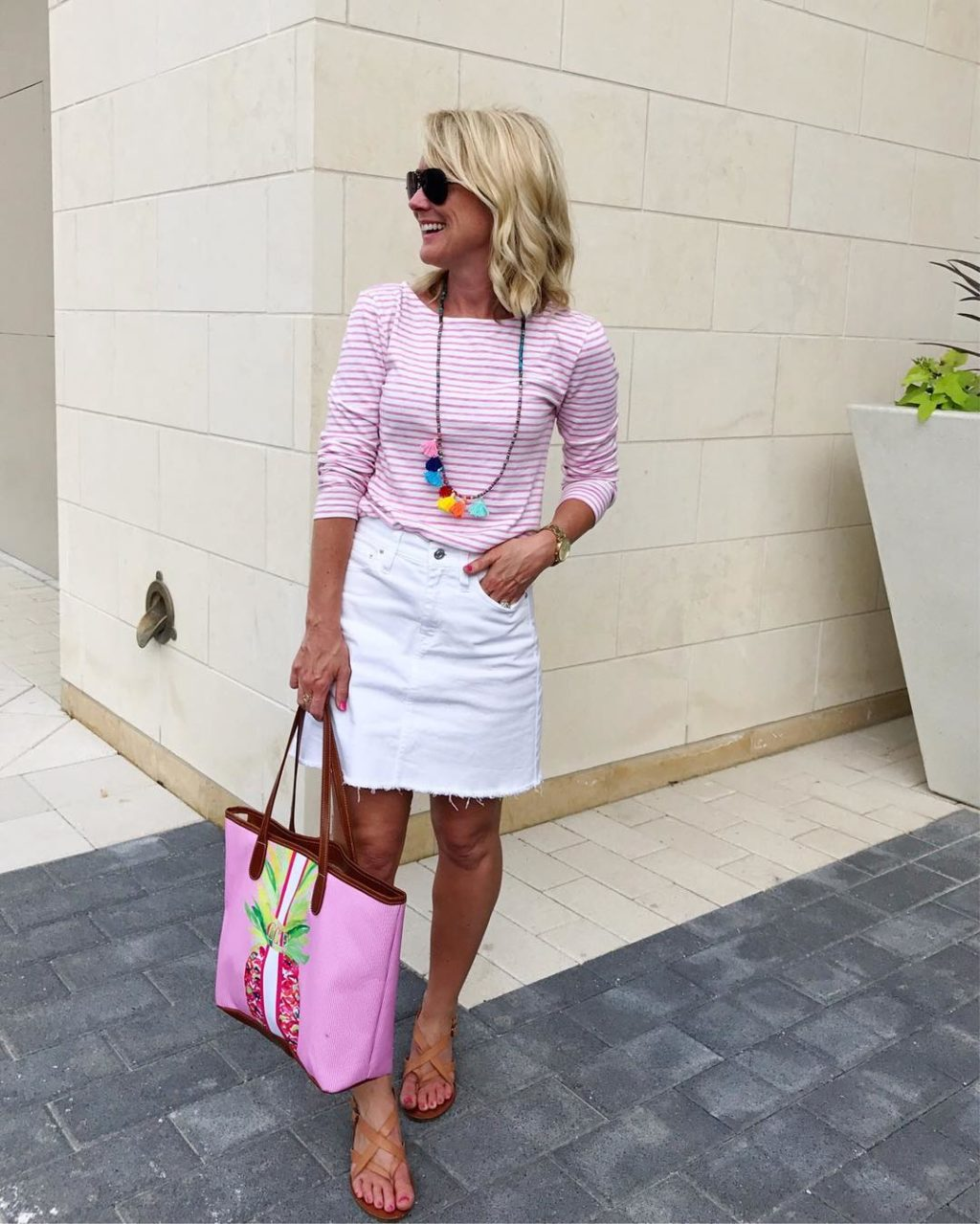striped tee white jean skirt outfit