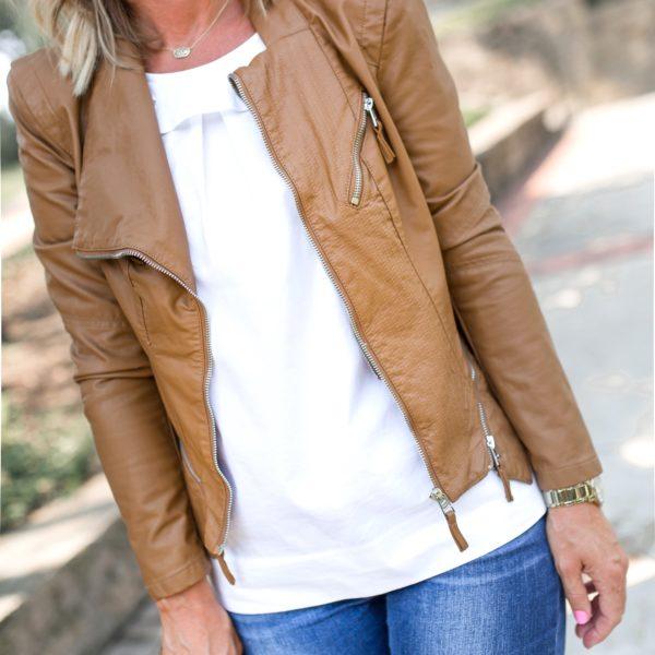 caramel moto jacket