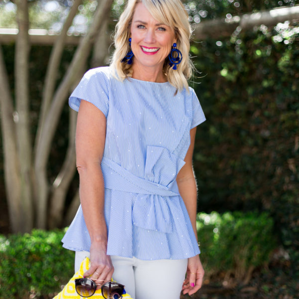 peplum top spring makeup