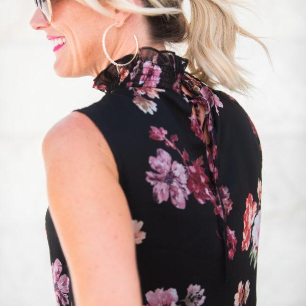 vince camuto black floral blouse work wear