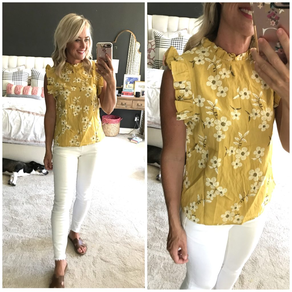amazon ruffle trim blouse